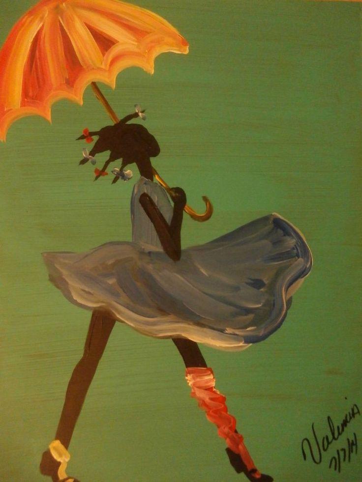 Original Black African American Art painting ON BOARD signed #Blackoutsiderartpainting