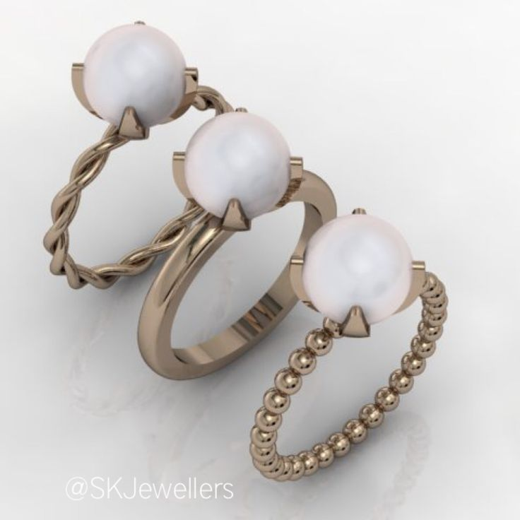 Rose Gold textured Pearl Stacking Rings. www.samuelkleinberg.com
