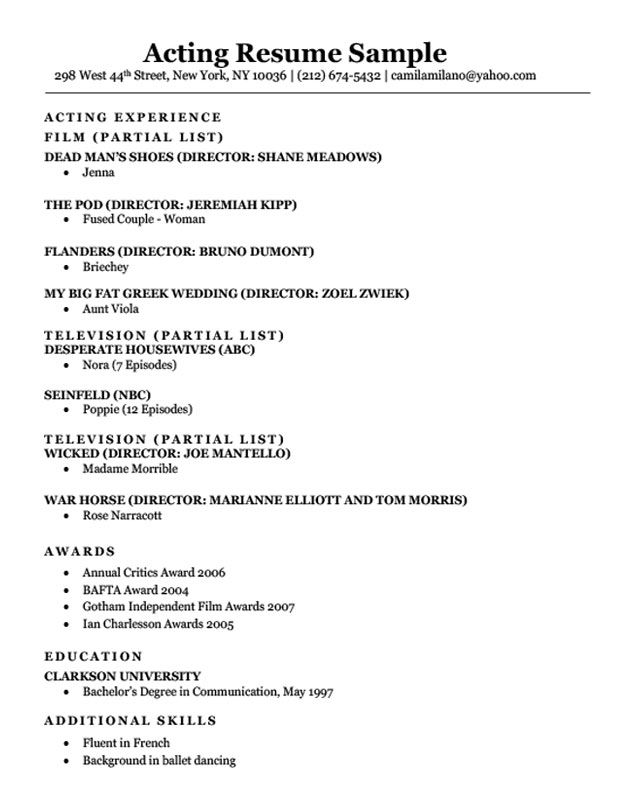 Acting Resume Sample Download Drama Class Pinterest Acting