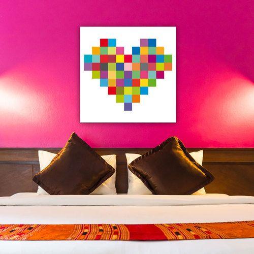 un tableau pixel art en forme de coeur pour les amoureux du pop art cette toile sur fond blanc. Black Bedroom Furniture Sets. Home Design Ideas