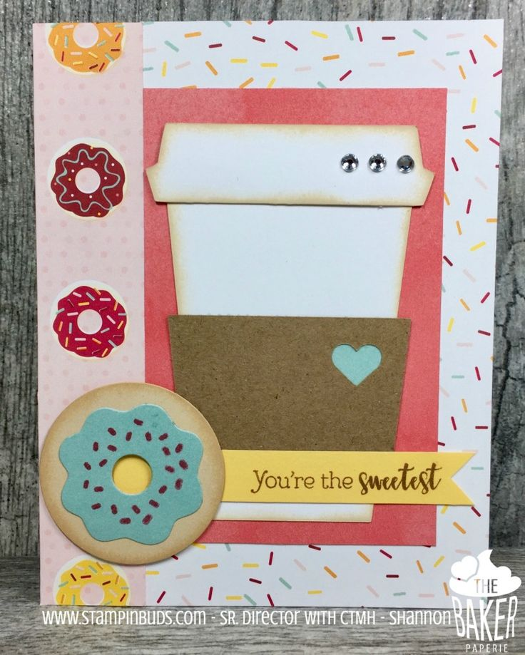 Sweetest Card on Mojo Monday - I love me some coffee and donut cards!  www.stampinbuds.com