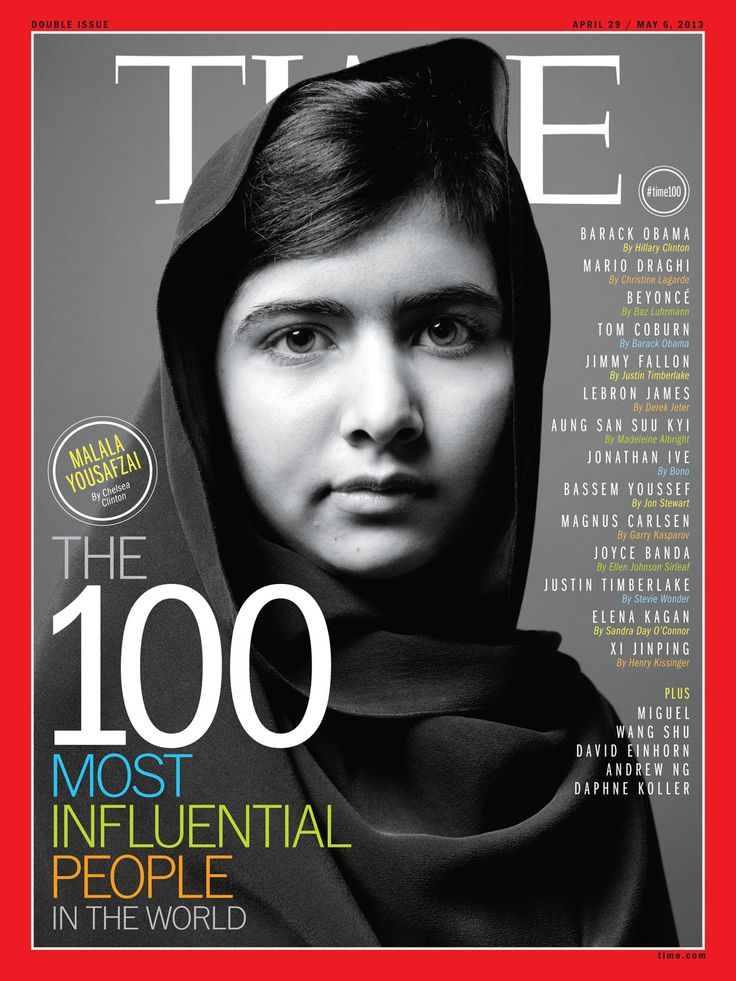 Malala Yousafzai | TIME Magazine Cover, April 29 / May 6, 2013.    Birthday July 12,