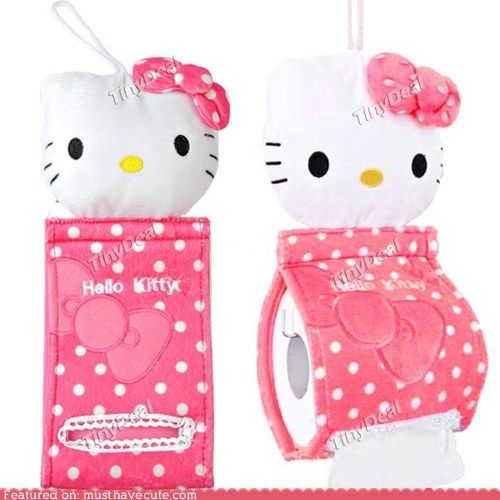 Hello Kitty Tissue Holder Kitty watches you no matter what you are doing.