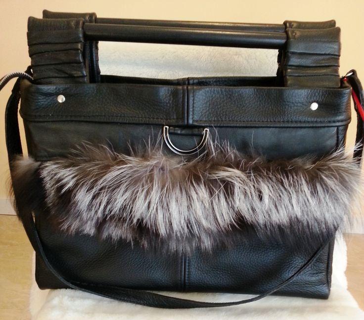 Leather handbag- rectangle/black/real fur by gajakp on Etsy