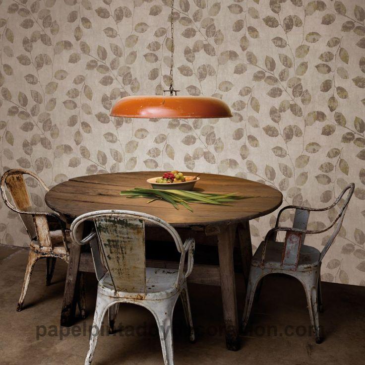 Papel pintado Coordonné Komorebi hojas tonos marrones efecto brillo dorado 81704