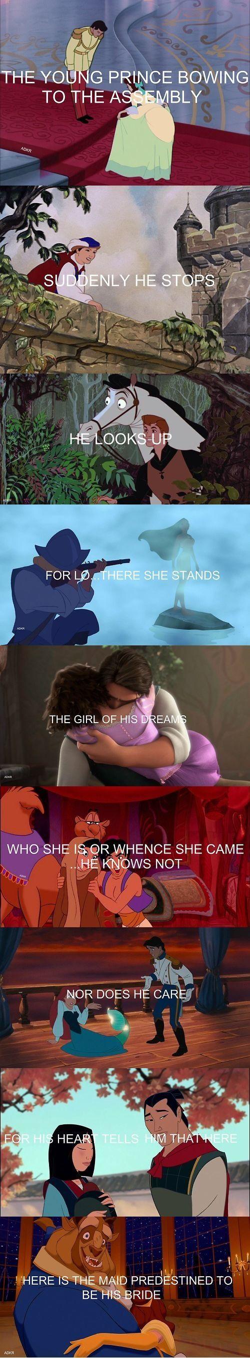 Disney Princes -isn't this a line from Anastasia? Regardless, I love it!