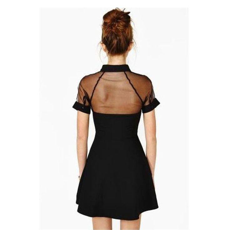 Robe Femme, Koly Mode Femme 2016 Mini-Robe 1PC Filles Noir Revers à Manches Courtes En Mousseline De Soie Slim Party SoiréE: Amazon.fr: Vêtements et accessoires