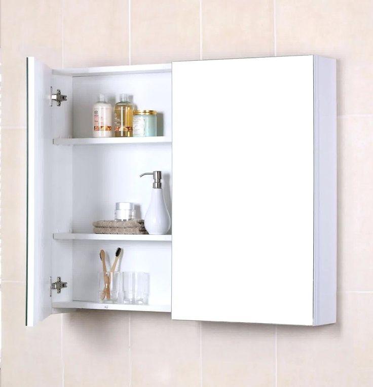 Large White Bathroom Mirror With Shelf