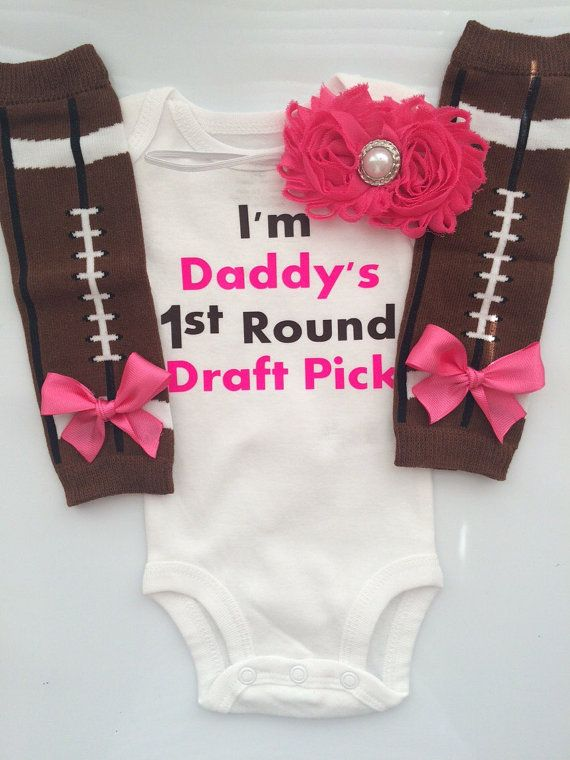 Newborn Girl outfit - Fathers Day Football Outfit - baby girl outfit - football legwarmers - I'm daddy's first round draft pick -