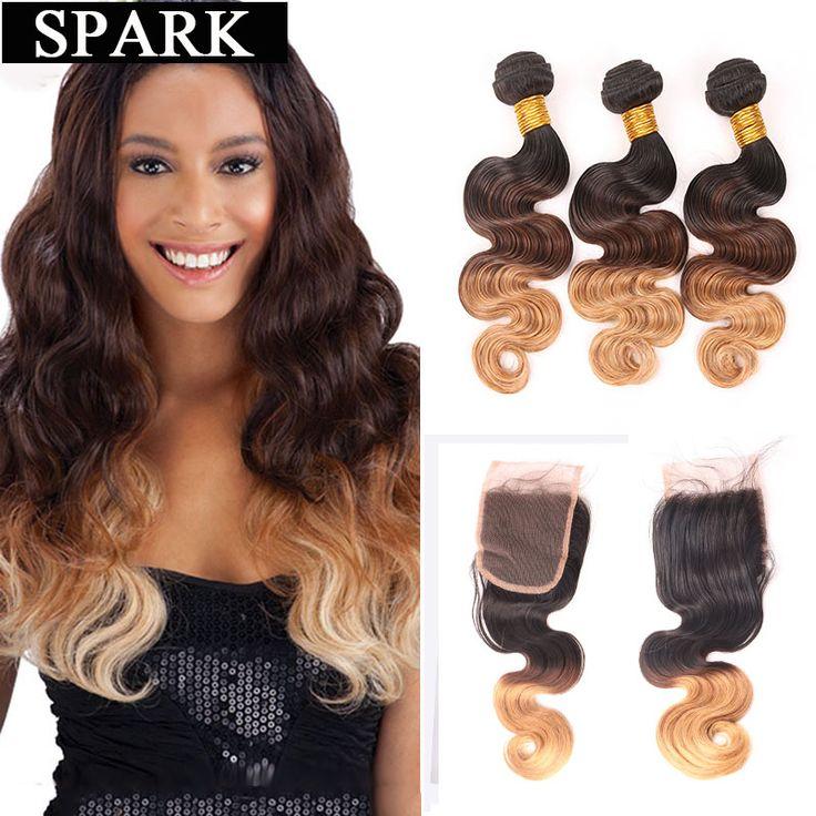 7a ombre brasil virgin rambut dengan lace closure murah manusia rambut wig tubuh gelombang 2/3/4 bundles dengan lace closure spark l rambut
