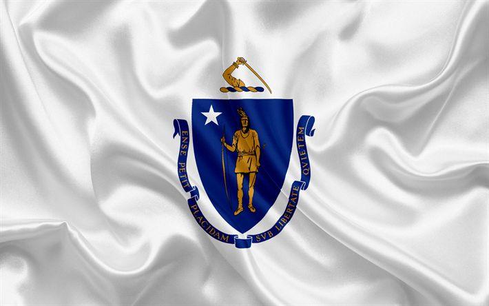 Download wallpapers Massachusetts flag, Commonwealth of Massachusetts, flags of States, USA, white silk, Massachusetts coat of arms