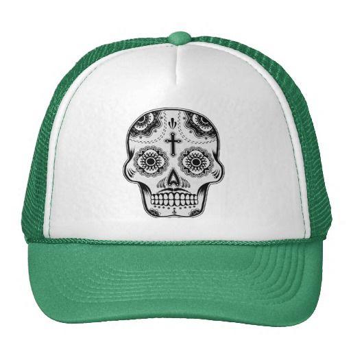 Mustache sugar skull mesh hats