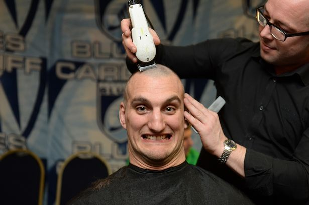Cardiff Blues Charity Hair Shave. Sam Warburton has his hair shaved off to raise money for Velindre in support of teammate Matthew Rees #CardiffBlues