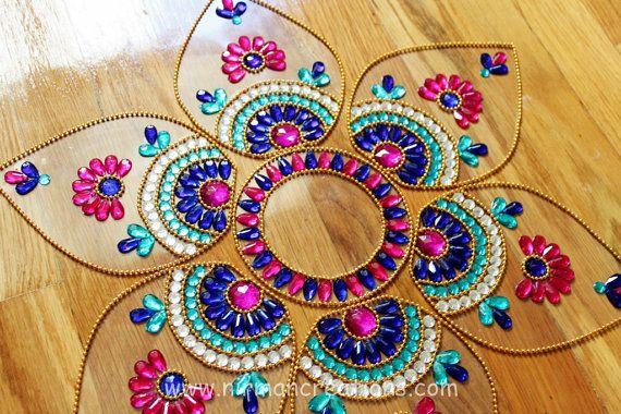 Diwali Rangoli floor art  Jumbo Pan  Blue Pink White  by Nirman, $28.00