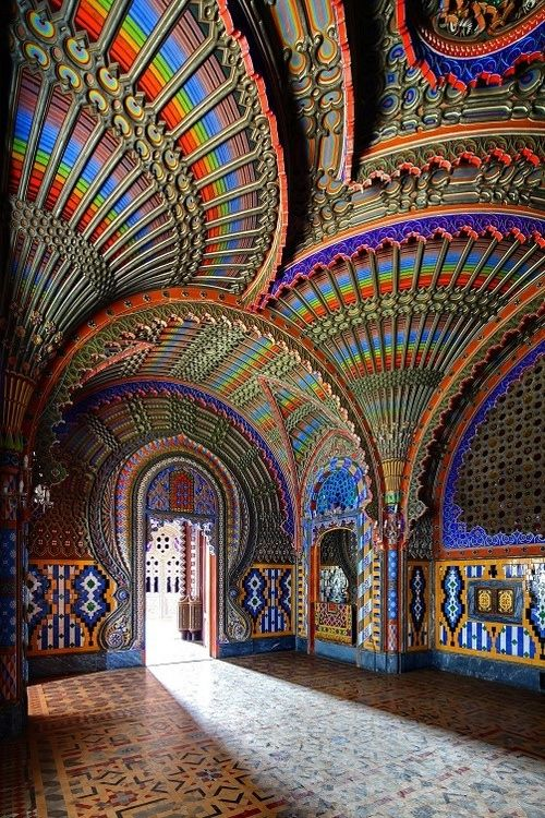 eacock room, Castello di Sammezzano, Italy. This technicolor Moorish style castle was built in 1605 for Ximenes d'Aragona. It was abandoned until April 2012 untl the FPXA committee was formed, aiming to promote and enhance the castle.