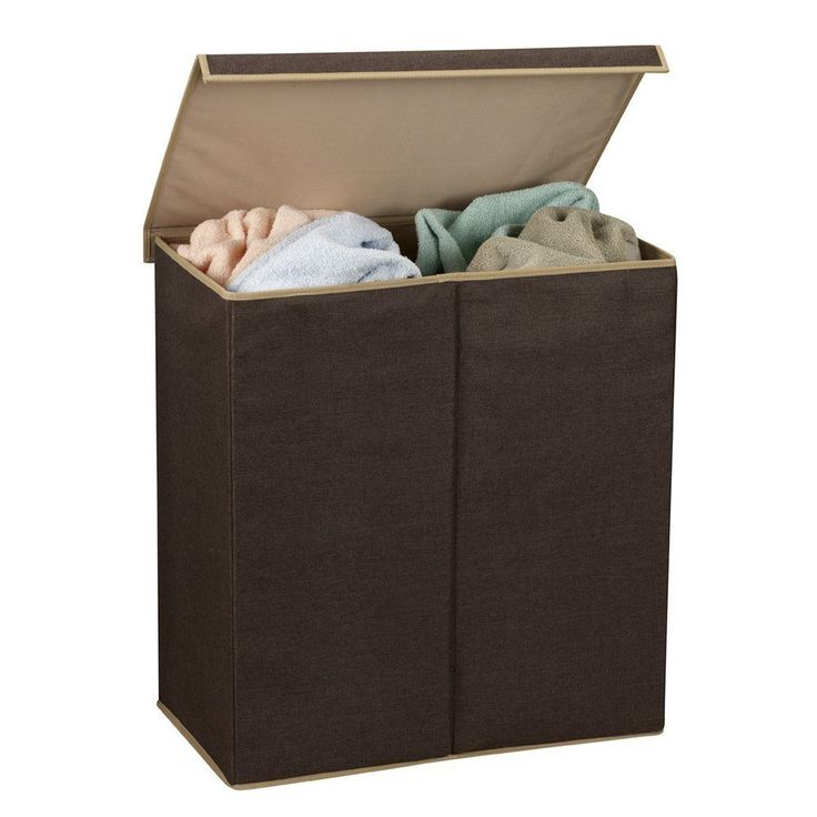 Hamper Laundry Double Sorter Dark Brown Magnetic Lid Closure free shipping
