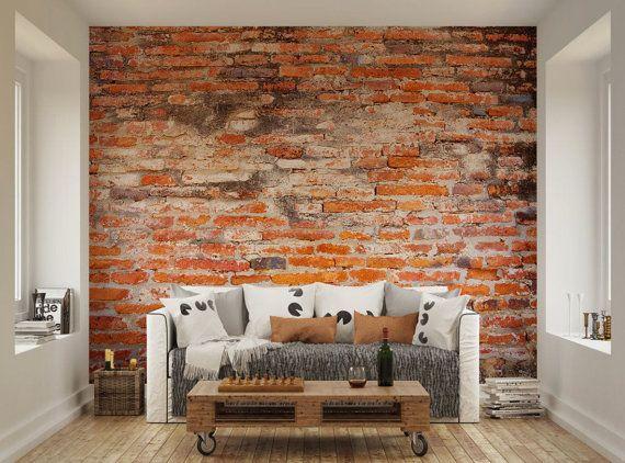Photo Wallpaper Wall muurschilderingen oude rode bakstenen muur Decals Decor levende kamer Home Design kunst aan de muur stickers XL 46