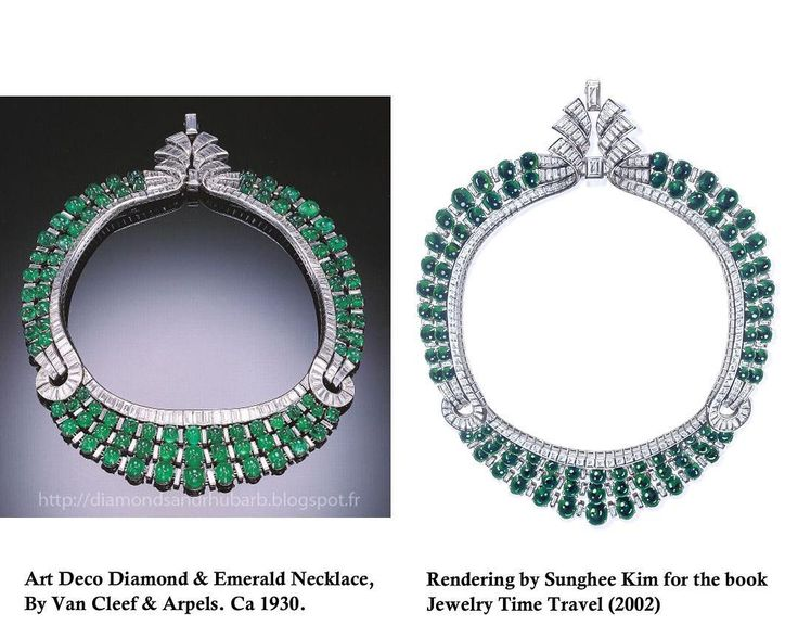 "Sunghee Kim on Instagram: ""Van Cleef & Arpels emerald necklace. Art Deco. Rendering by Sunghee Kim for the book "" Jewelry Time Travel"" 2002. #rendering #sungheekim…"""