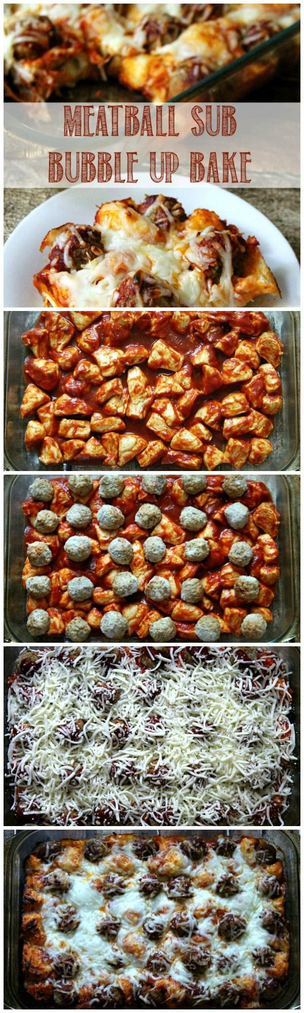 4-ingredient Meatball Sub Bubble Up Bake for weeknight dinner!