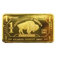 Wish | 24k Gold Plated Bullion Beauty Bar United States Of America 1 Troy Ounce Gold Clad Buffalo Bar (Size: 44mm by 28mm by 3mm, Color: Gold)