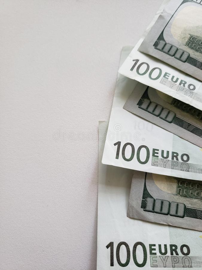 Euro And American 100 Dollars Bills