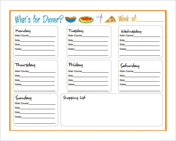 7 Dinner Party Templates Weekly Meal Planner Template Meal