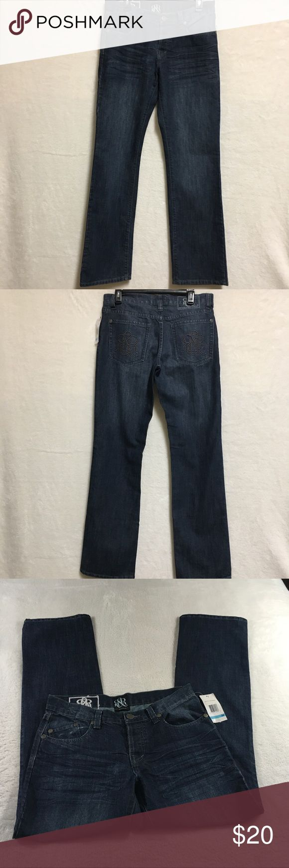 Rock & Republic Women's Jeans Size 34X34 Dark wash jeans Nice design in the pockets New with tags Rock & Republic Jeans Straight Leg