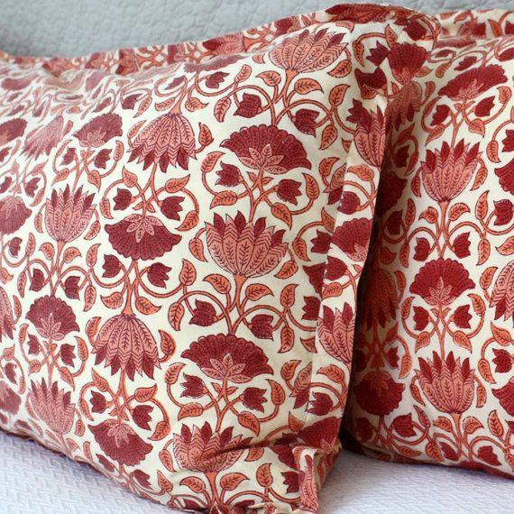 Beautiful Bohemian Lotus Print Pillow Shams by KhushRangTextiles