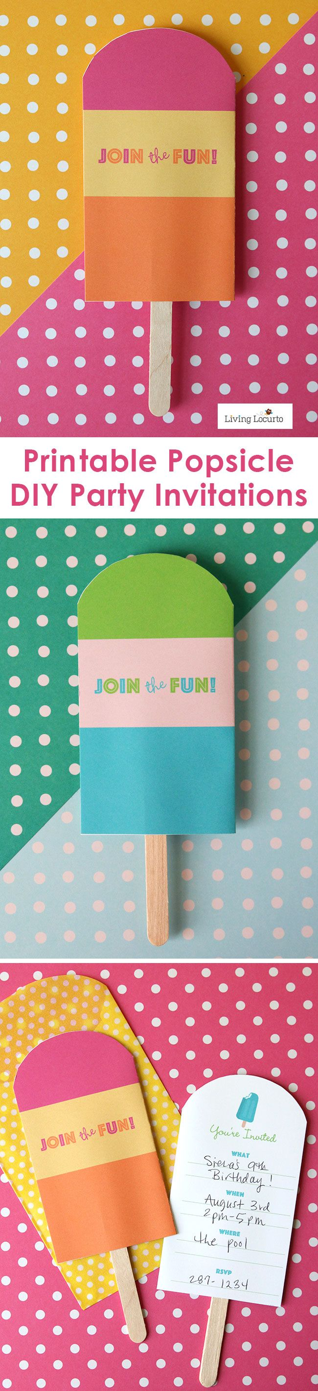 Chill out with these Cute Free Printable Popsicle Party Invitations and Decorations. Choose from several color options. Fun summer party ideas for any age!