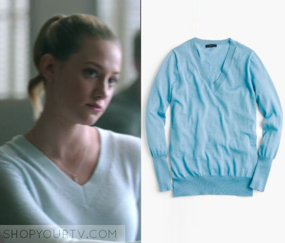 "Riverdale: Season 1 Episode 10 Betty's V Neck Sweater | Betty Cooper (Lili Reinhart) wears this light blue v neck sweater in this episode of Riverdale, ""The Lost Weekend"".  It is the J Crew Merino wool V-neck sweater in Cornflower Blue."