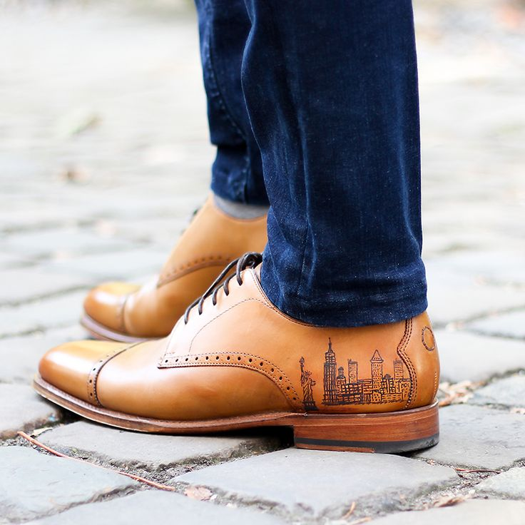 New York Skyline Tattoo on tan leather derby shoes