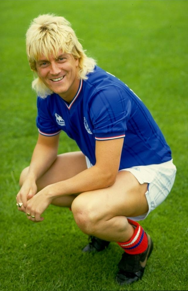 Pompey striker Alan Biley with a very striking blonde mullet