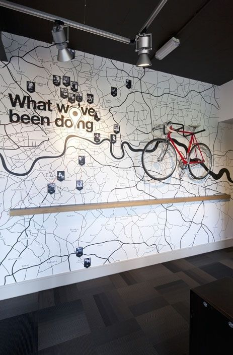 like the idea of a map ont he wall behind reception area to show what we're working on/have been working on - could be world map - to show clients who are waitng what we're up to