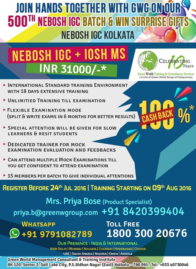 GWGs 500th Batch Offer For NEBOSH Course In Kolkata