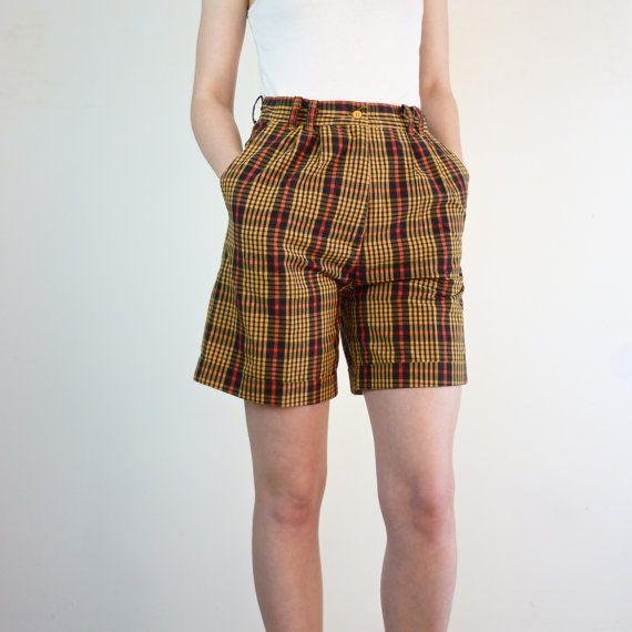 Vintage 1990s Shorts / Plaid High Waisted Shorts by jessjamesjake