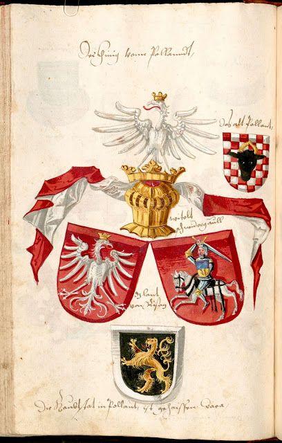 """Conrad Grünenberg Wappenduch ( BSB Munich - Bavière) -1483 folio 46,  consacré à l'Union du Royaume de Pologne et du Grand-Duché de Lituanie ( les deux écus du milieu) en-dessous , l'écu de sable au lion d'or et à la bordure d'argent est attribué à la """"Russie Noire"""", ou Ruthénie Noire, une des principautés de la Pologne. A-dessus , à droite , l'écu échiqueté de gueules et d'argent au rencontre de bœuf de sable accornée d'or est pour le vieux Duché de Grande Pologne, une des composantes du…"""