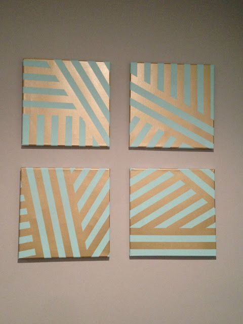 diy painted canvas easy art project with painters tape - Ideas For Bedroom Wall Decor