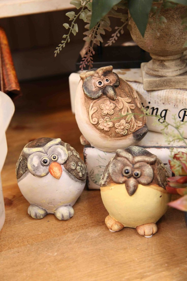 trio of chubby owls www.EvergreenMfg.net