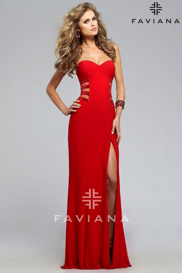 Faviana Strapless jersey sweetheart with illusion side cut out and sequin trim - Prom Dresses