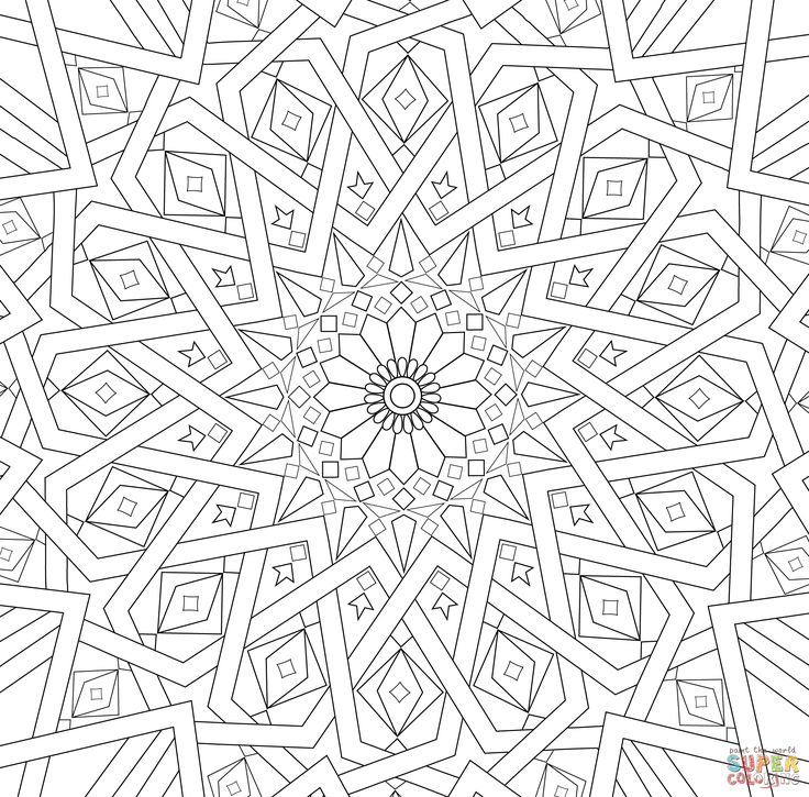 Traditional Islamic Mosaic Coloring Page Supercoloring