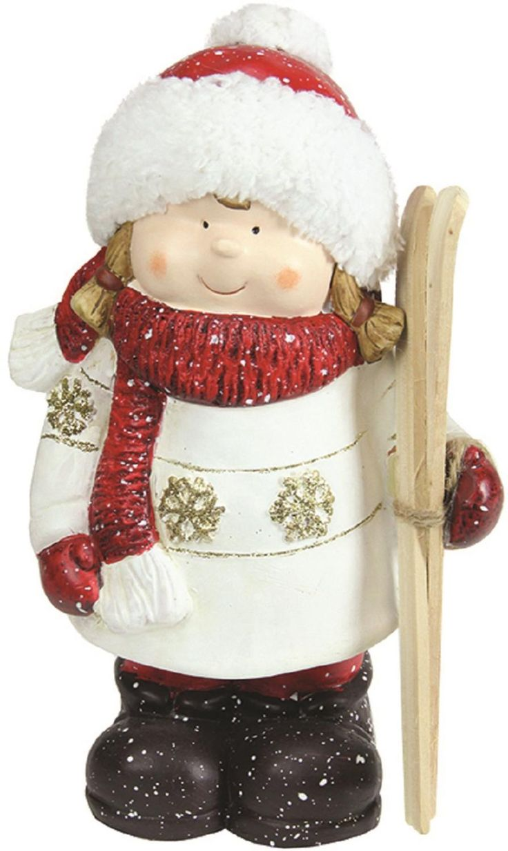 Christmas Morning Red & White Terracotta Girl with Skis Figure