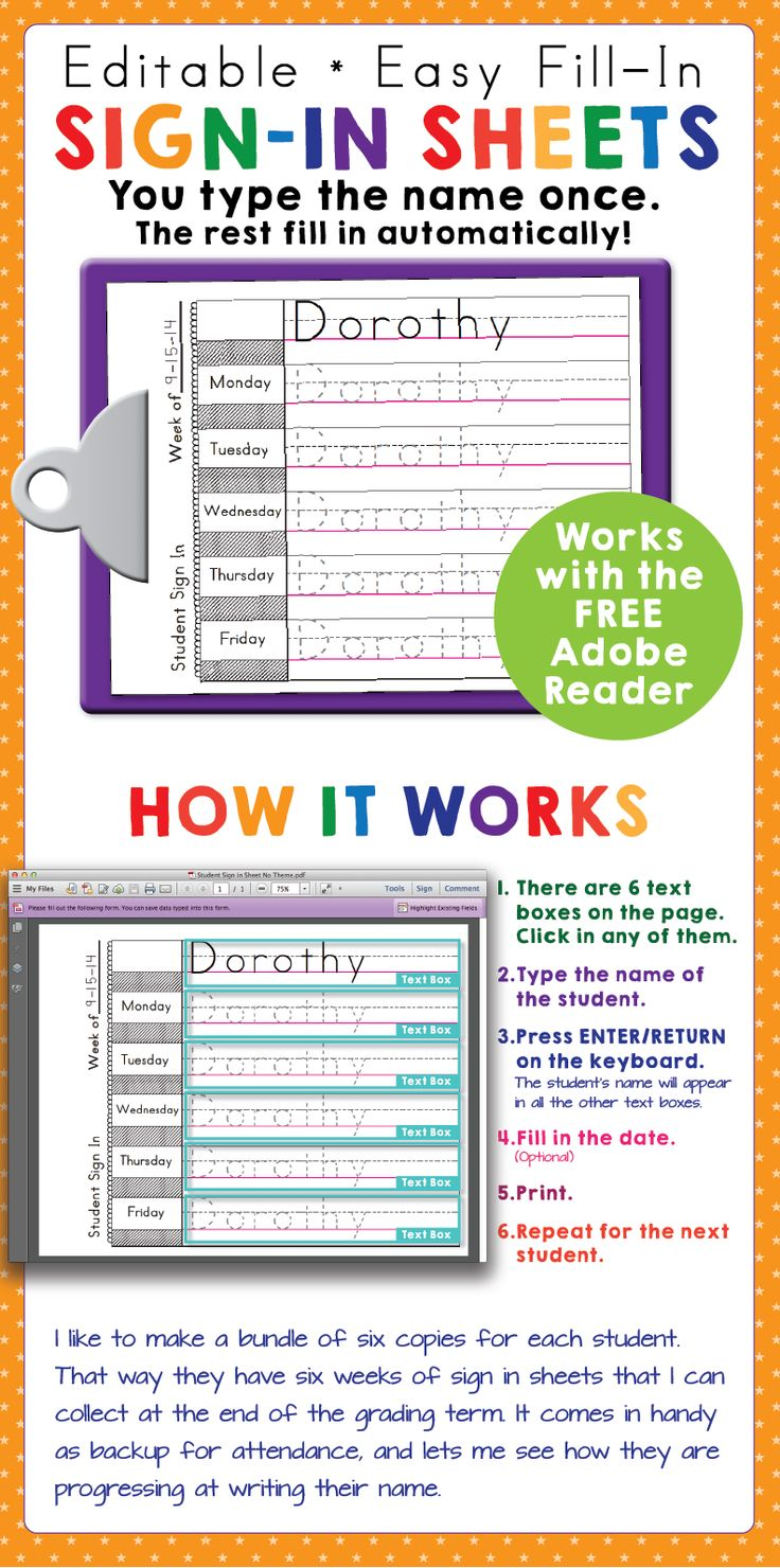 Print-practice sign-in sheets freebie! You can use them to help keep track of attendance and give the kids practice printing and spelling their names.