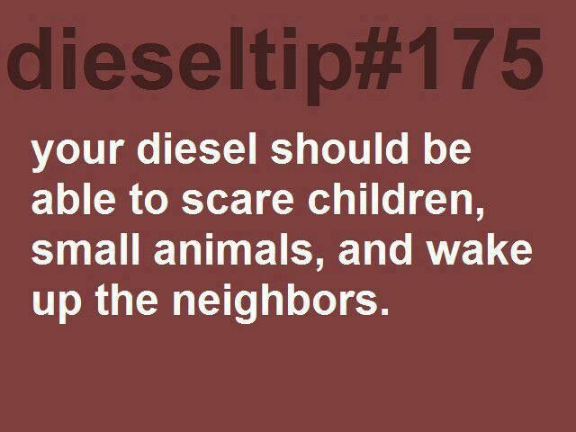 Diesel tip #175 Me and my dad where going down the road and threr was this little girl and she was outside playing and as we where going past here house she covered her ears hahaha it was the best.