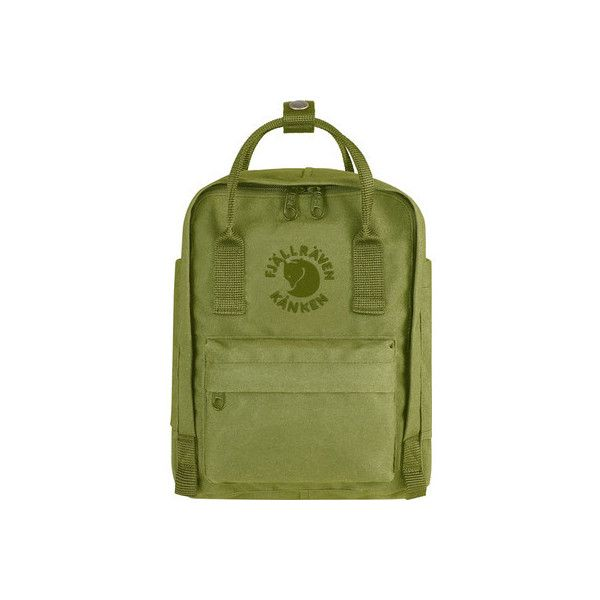 Fjallraven Re-Kanken Mini Backpack - Spring Green ($75) ❤ liked on Polyvore featuring bags, backpacks, green, long strap bags, green backpack, shoulder strap backpack, long strap shoulder bags and mini bag