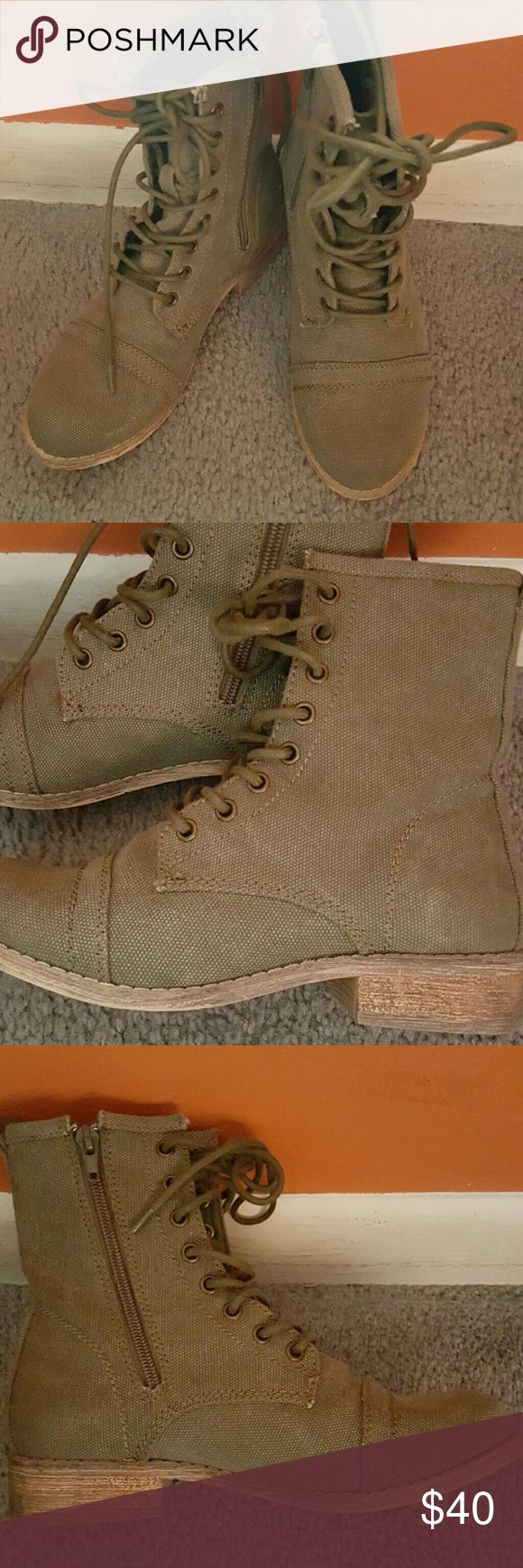 Canvas lace-up booties Fairly new, canvas material with side zipper for easy on and easy off. Olive green color MIA Shoes Ankle Boots & Booties