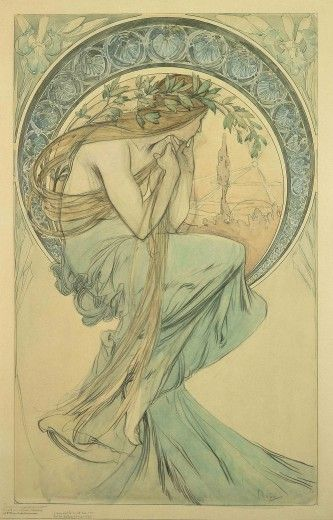 ❤ - Alphonse Mucha | study for 'The Arts' - 1898.