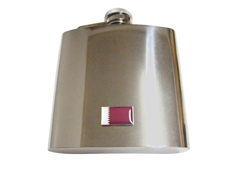 Qatar Flag Pendant 6 Oz. Stainless Steel Flask