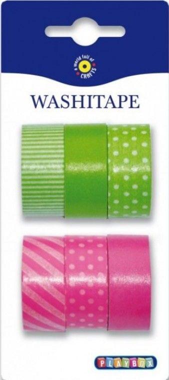 Washi páska (6 ks) 15 mm x 5 m - růžová a zelená | Kreativní hrátky