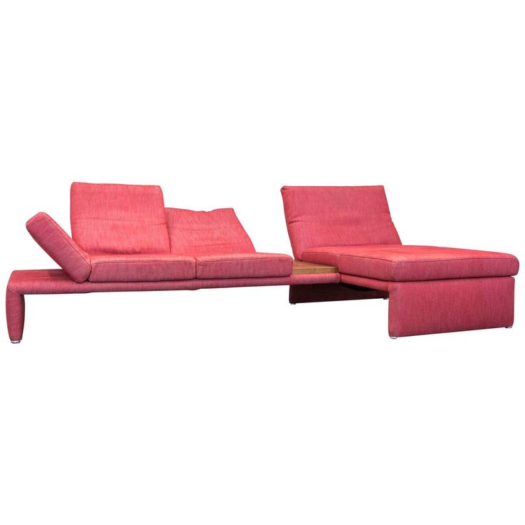 Koinor Raoul Designer Corner Sofa Fabric Red Electrical Function Couch Modern
