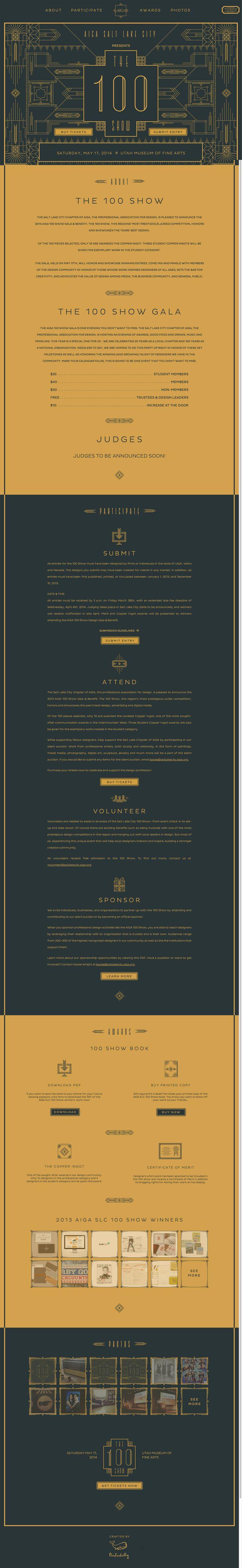 Web design: AIGA Salt Lake City The 100 Show